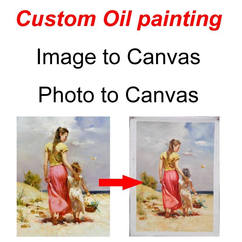 Personnalisé peinture à l'huile photo image ou photo convertir à main-peint peinture de toile de haute qualité