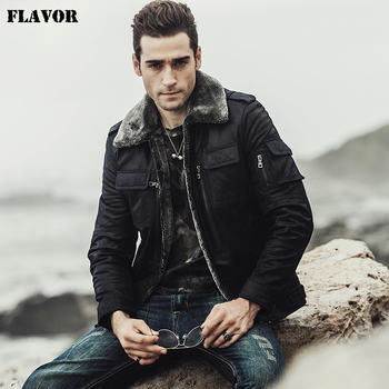 FLAVOR 2017 new winter Motorcycle genuine leather jacket pigskin jacket with faux fur shearling Real Leather Jacket Leather