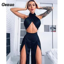 Two piece set Womens Sexy Bandage Sleeveless halter Crop top Split Wide Leg Pant Female Club Cocktail Party Suit elegant sets
