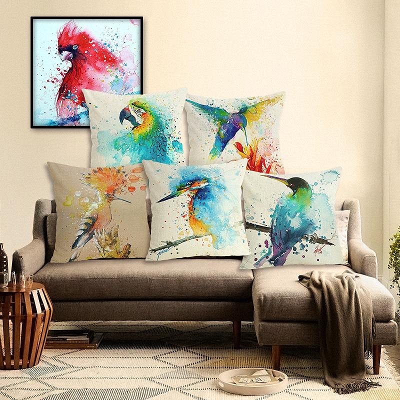 高品質クリエイティブファッションカラー鳥家庭用品花スローピローケースチェアクッションカバーalmofadasコットンリネンスクエア