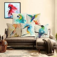 High Quality Creative Fashion Color Bird Houseware Floral Throw Pillow Case Chair Cushion Cover Almofadas Cotton Linen Square