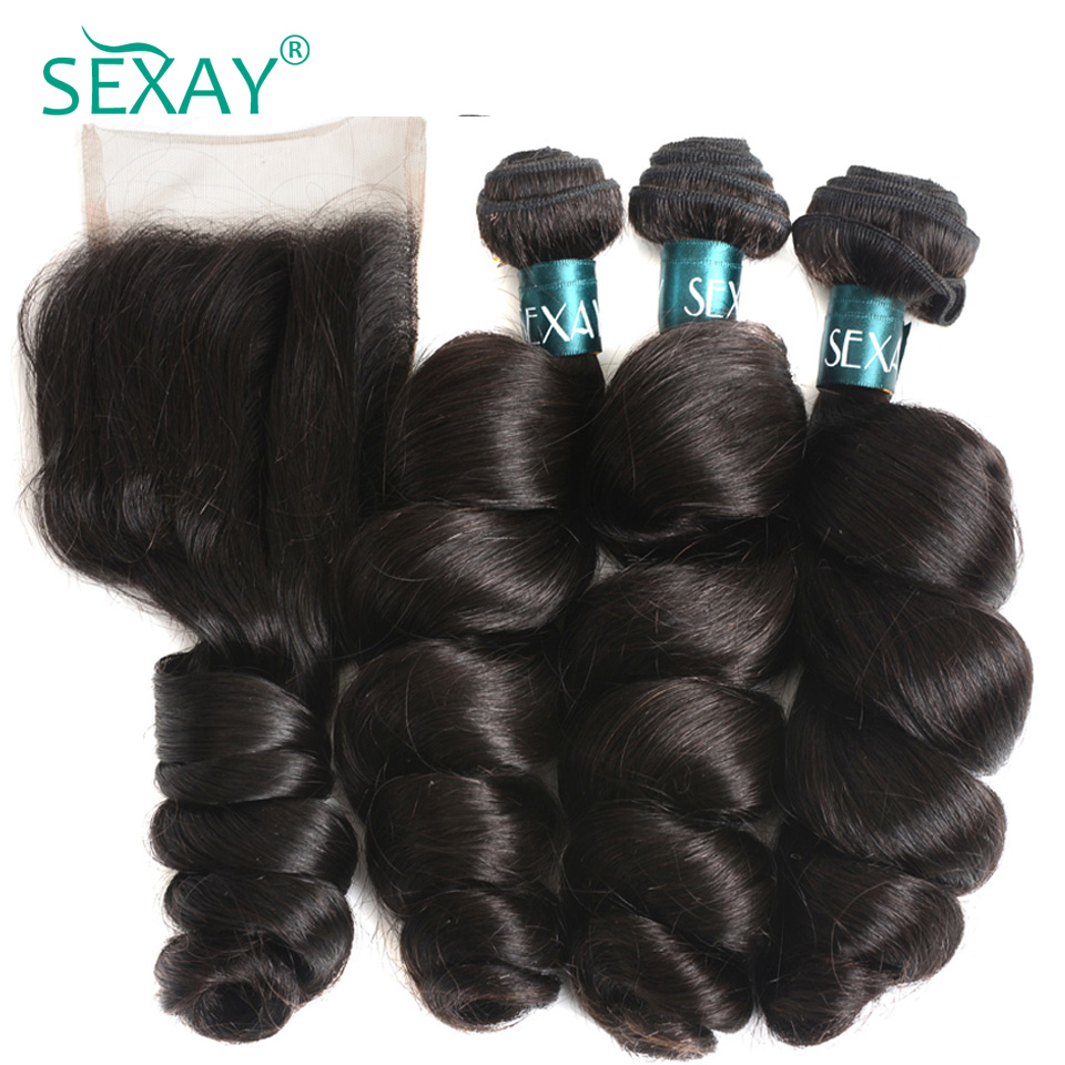 Loose wave bundles with closure Sexay Peruvian remy human hair 3 bundles with 4x4 lace closure