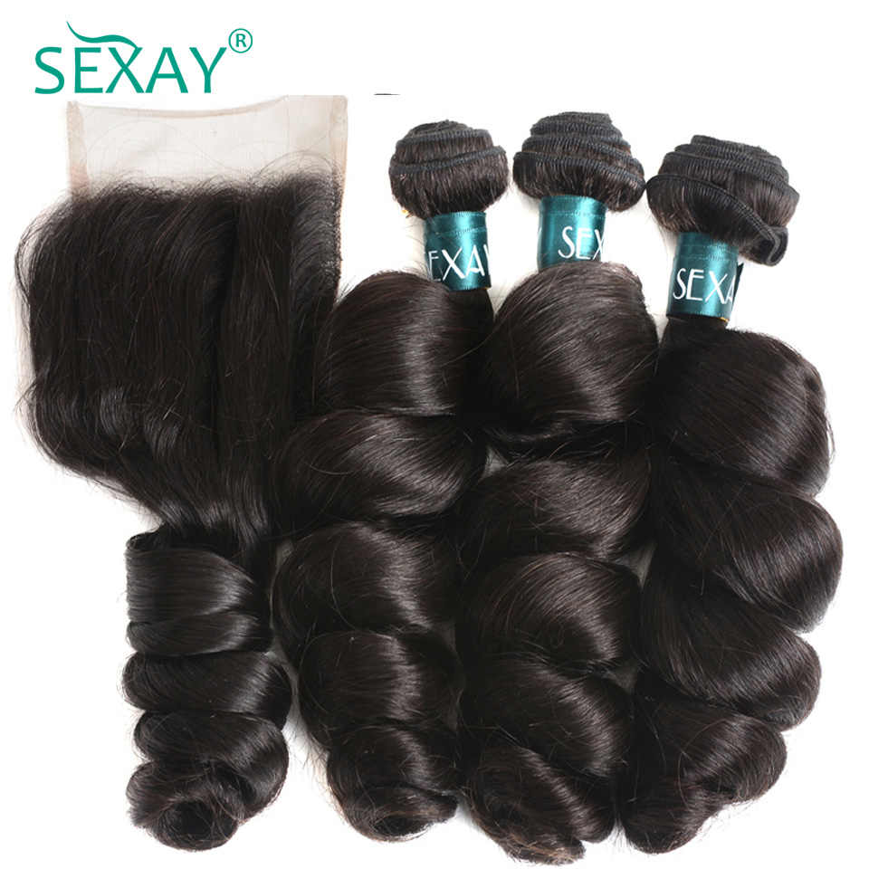 Loose wave bundles with closure Sexay Peruvian remy human hair 3 bundles with 4x4 lace closure pre plucked with natural hairline