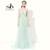 Prom Dress 2016 SoDigne Vestidos De Baile Sexy Cap Sleeve Mint Green Dress To Party Simple