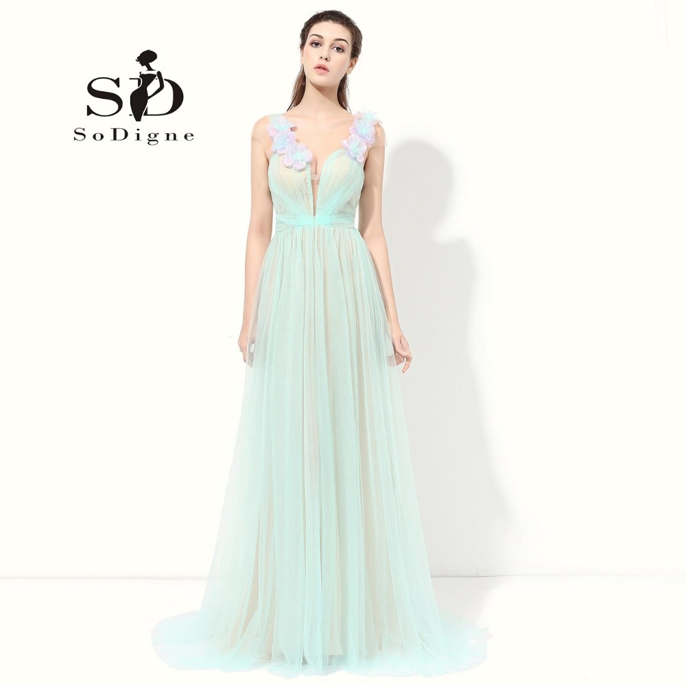 Prom Dress 2018 SoDigne Vestidos De Baile Sexig Cap Sleeve Mint Green Dress Till Party Enkel Aftonklänning Blommor Tulle Pleats