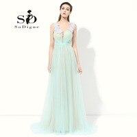 Prom Dress 2016 SoDigne Vestidos De Baile Sexy Cap Sleeve Mint Green Dress To Party Simple