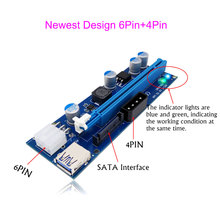 Mining Video Card PCI-E Express Riser Card 1x to 16x USB 3. to 6Pin+4Pin IDE Molex Power Supply With LED Light for Miner Machine