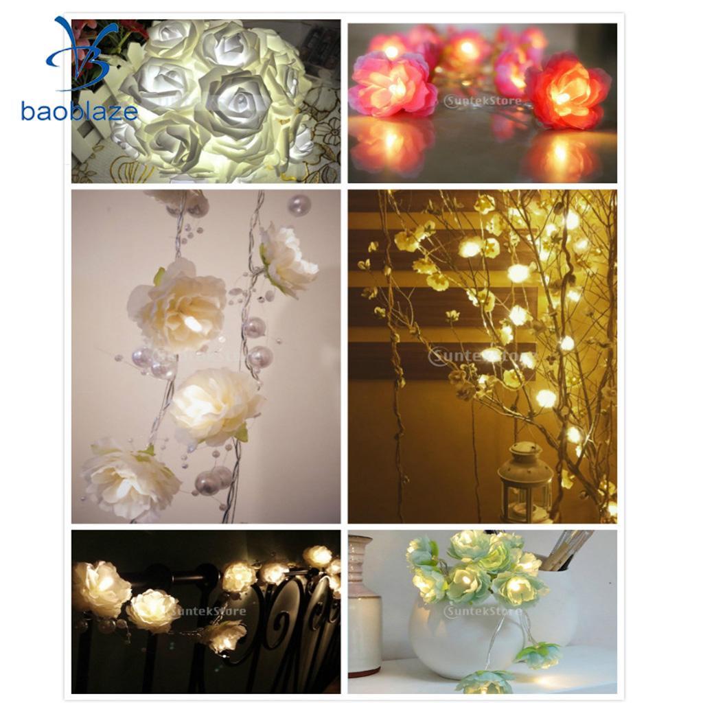 Baoblaze 2m Pearl String Rose Garland Fairy Lights With 20 LED Bulb Home Decor Lights for Living Room Weddings Halloween Setting