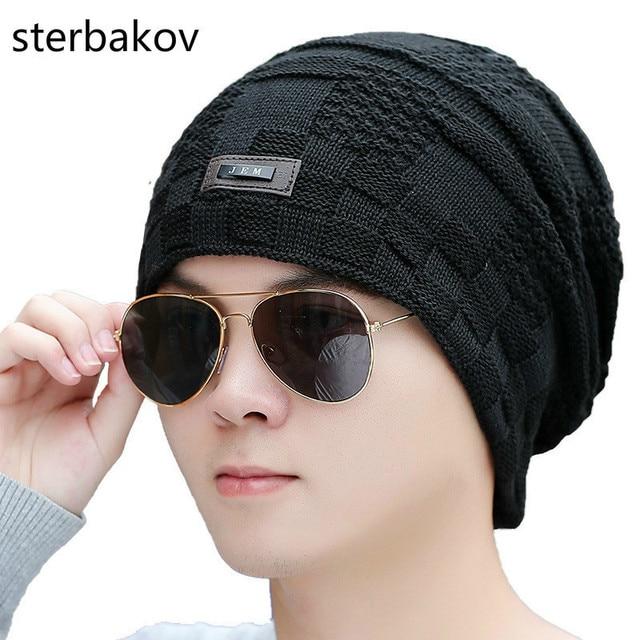 e4d24cfd9f3d8 2017 Winter Fashion Warm Hat Mens Knitting Cap Hat Man Beanie Hat Cap  Skullies toucas Elastic Beanies Drop Shipping balaclava