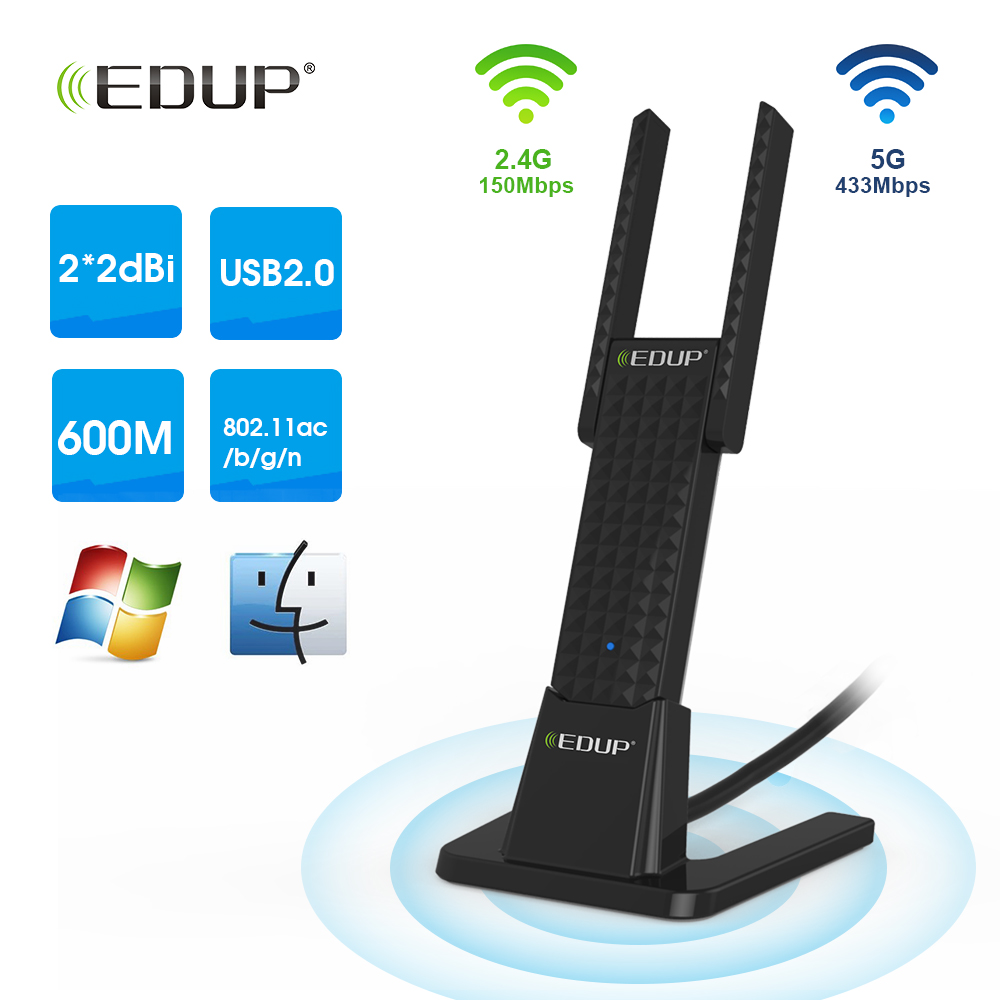 EDUP 600Mbps USB WiFi Adapter 5Ghz High Power WiFi Dongle 2*2dBi Antenna 802.11ac USB Network Card Adapter WiFi Receiver