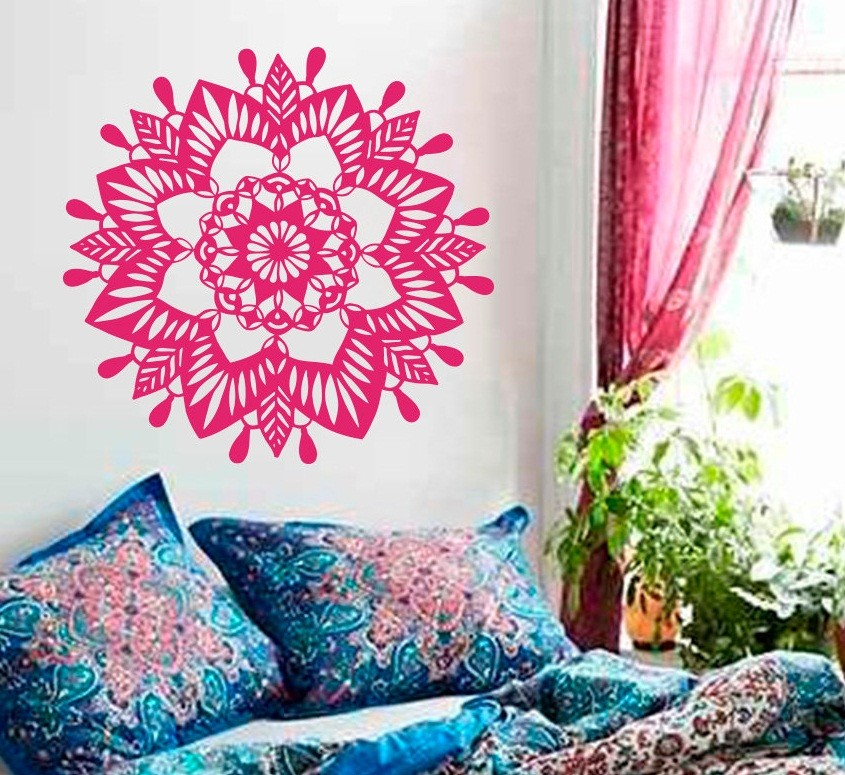 Special Home Decor Mandala Flower Yoga OM Wall Sticker Yoga Buddha Ornament Decorative Murals Living Bedroom Vinyl Sticker W 883 in Wall Stickers from Home Garden