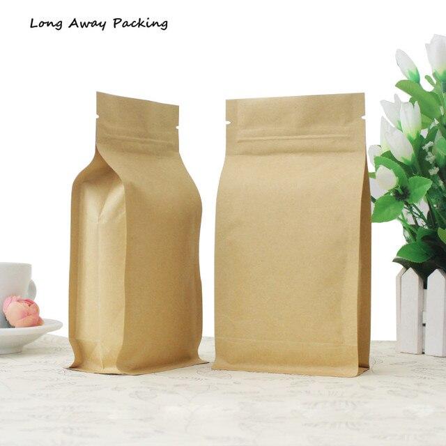 50pcs Lot 3d Stand Kraft Paper Aluminum Foil Zip Lock Bag Coffee Beans Packaging