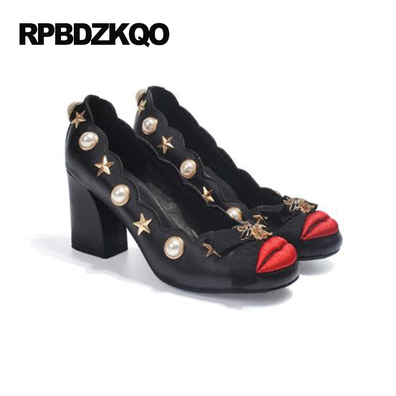 Perle Mode Métal Rond Designer Chunky 34 Bout Talons 3 Femmes En Discount Taille 4 Marque Pouces Pour 2017 Noir Pompes Chaussures Hauts De Moderne Black FJl1cTK3