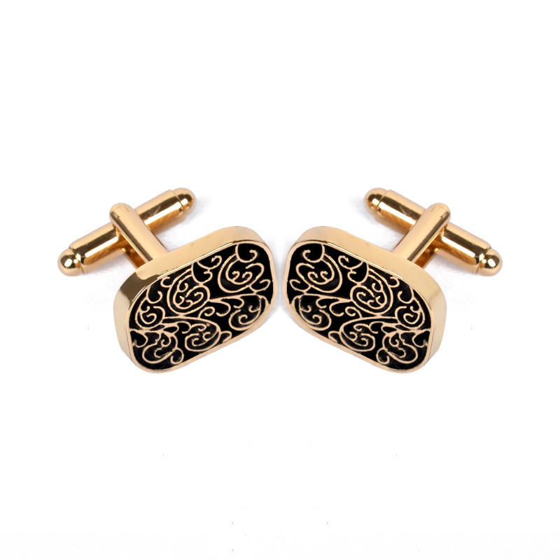 Cufflink Jewelry Gold-Color Vintage High-Quality Brand Men For Shirt Pattern