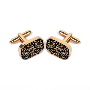 Cufflink Gold-Color Vintage High-Quality Jewelry Brand Men for Shirt Pattern