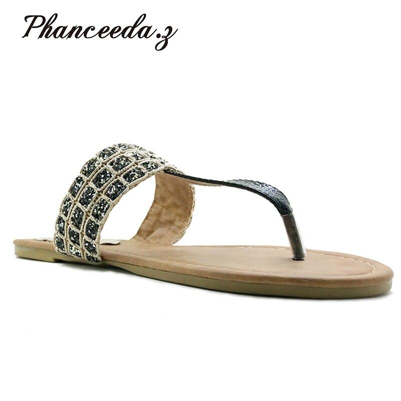 Nuevo 2018 verano estilo Zapatos mujer Sandalias moda Leopard Flats sólido de calidad superior chanclas zapatillas más tamaño 6 -11