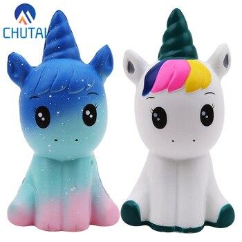 Jumbo Kawaii Colorful Galaxy Unicorn Squishy Doll aumento lento sollievo dallo Stress spremere giocattoli per bambini regalo di natale per bambini 12*6*5CM
