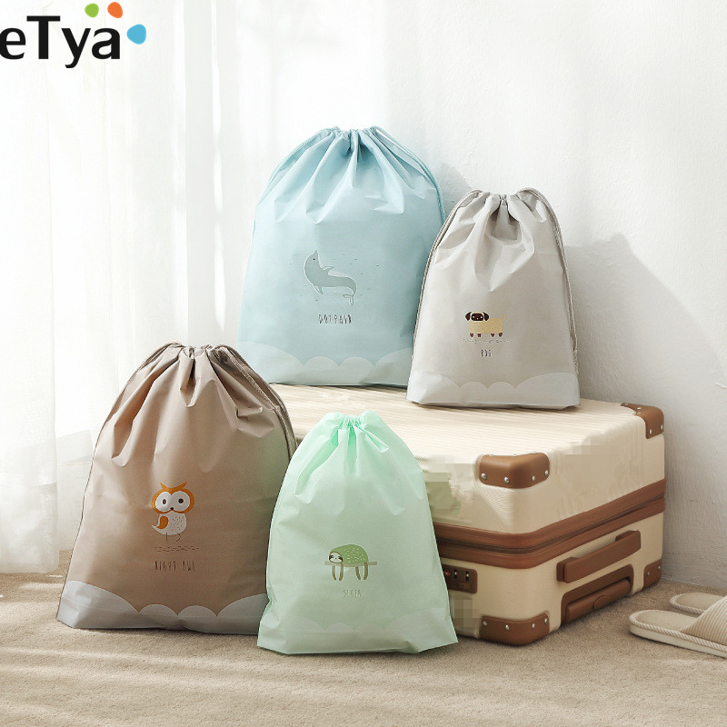 ETya Travel Accessories Luggage Packing Cube Bag Case Drawstring Classified Organizers For Cloth Shoes Bra Toiletry Cosmetic