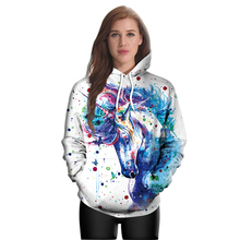 New 2017 Horse Color Pattern Unicorn Printed Polyester Hooded Sweater Women Cos