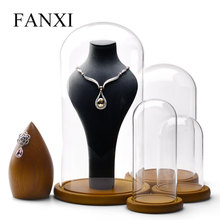 FANXI Glass Earring Display Holder Transparent Jewelry Stand Bottle for Shop