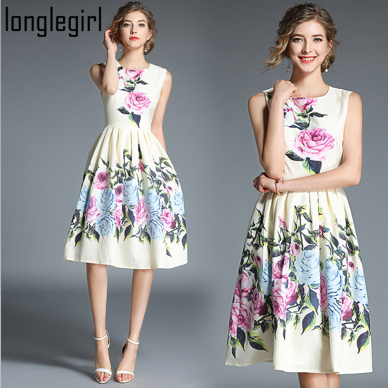 Printemps été Midi femmes robe femme Vestido Polyester o-cou sans manches mi-mollet imprimé bureau dame Vintage a-ligne robe M-XXL