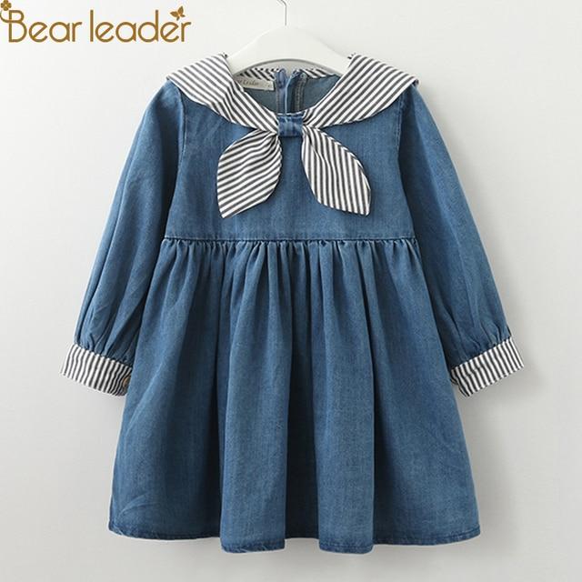 Bear Leader Girls Dresses 2018 New girls cute dress white belt denim dress sleeveless cotton summer dress lovely girls clothes