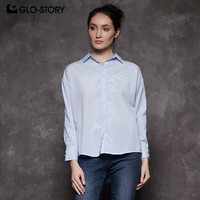 GLO STORY Women Casual Solid Shirts Beading Tape Decorate Long Sleeve Blouse 2018 Autumn Women's Tunic Tops WCS 7676