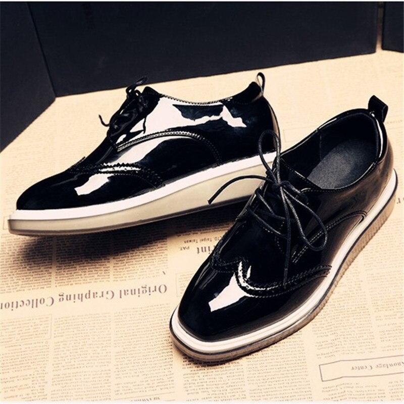 Bout Black Femme De Oxford Printemps Et Carré Femmes Talons Plat Britannique Cuir red Verni Automne Style En Chaussures Richelieu wZFRHqT