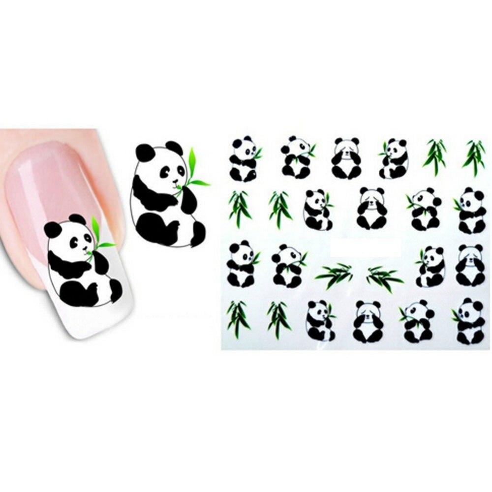 QIANLONG Niedlichen Tier Nagel Aufkleber Panda Nagel spitzen Decals ...