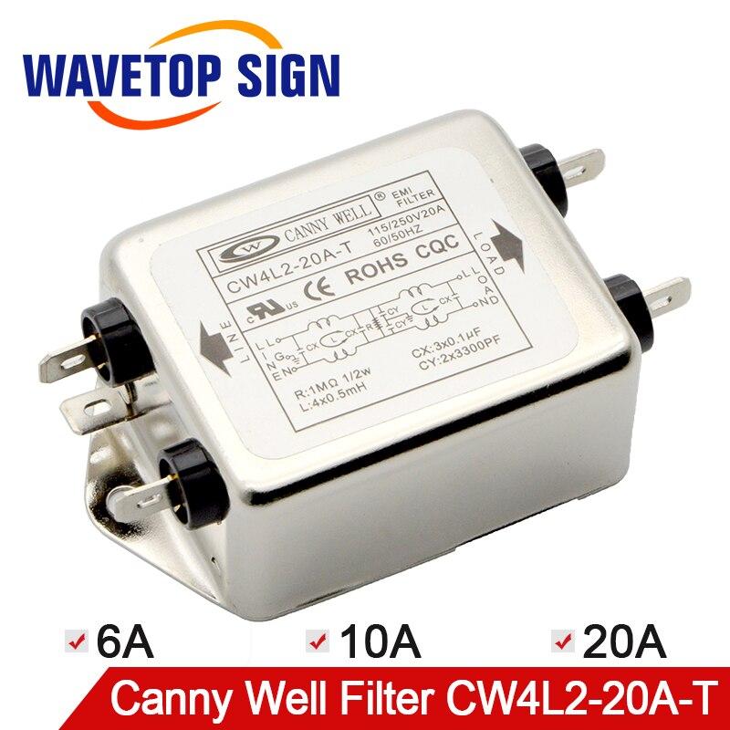 Freies Verschiffen CANNY WELL CW4L2-20A-T EMI Power Filter Einzel-phase Doppel-abschnitt Power Filter CW4L2-10A-T CW4L2-6A -T