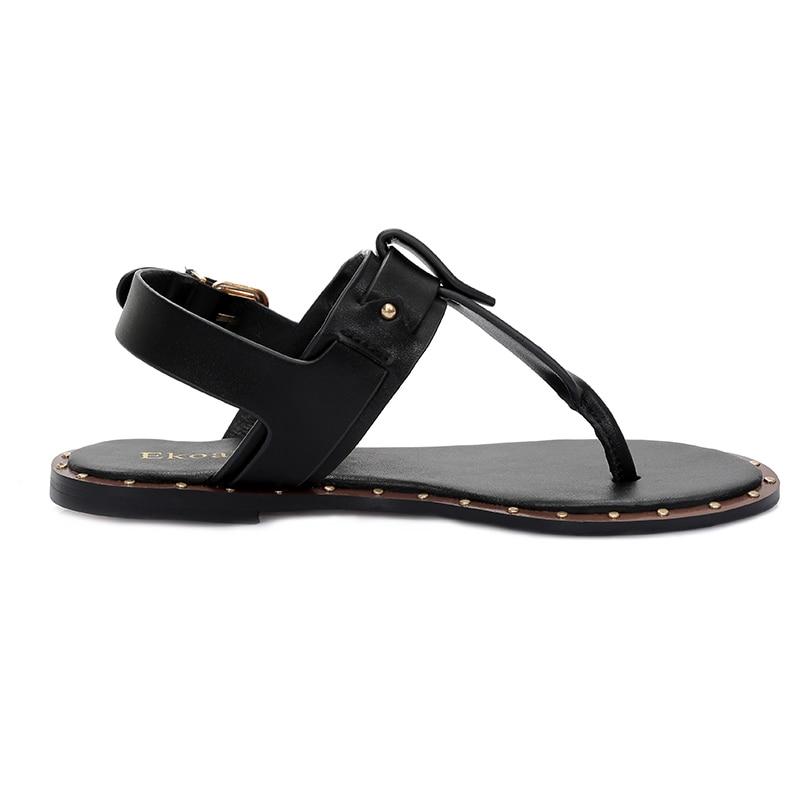8af3b904593776 Ekoak New 2018 Fashion Leather Sandals women Summer Ladies Dress shoes  woman Beach Shoes Flat Sandals flip flops women-in Women s Sandals from  Shoes on ...