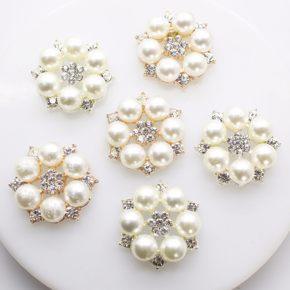 New 10pcs/lot 28mm pearl Rhinestone button/artificial crystal hair accessory wedding decoration.