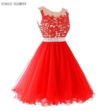 Hot Red Homecoming Dresses Real Photo 8th Grade Prom dresses A Line Sheer Neck Lace Robe Gowns Single Element