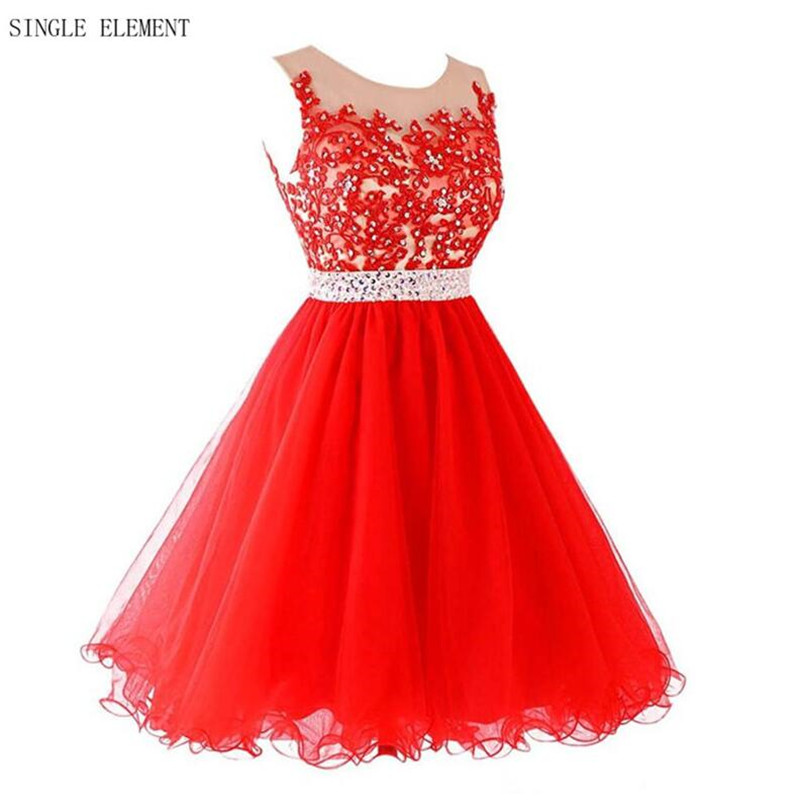 Hot Red Homecoming Dresses Real Photo 8th Grade Prom dresses A Line Sheer Neck Red Lace Robe Homecoming Gowns Single Element