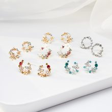 2019 Women Korean Cute Gold Silver Crystal Rhinestones Flower Drop Stud Earrings For Female Jewelry Gift Party Ear Ring Brinco(China)