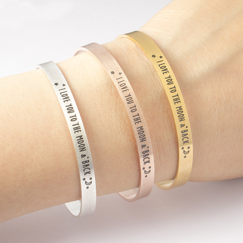 Bericht Armband Heren 2018 Gegraveerd I Love You To The Moon & Back Manchet Bangle Vintage Sieraden Roestvrij staal Pulseras Hombre
