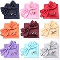 Набор мужских галстуков-бабочек, запонки с бабочками, модные вечерние галстуки-бабочки для мужчин и девочек, яркие однотонные галстуки-бабо...