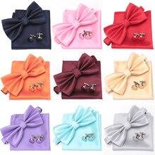Męskie krawat zestaw muszka krawat spinki do mankietów moda motyl wesele muszki dla mężczyzn dziewczyny cukierki jednolity kolor Bowknot hurtownie
