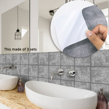 Funlife 15*15cm/20*20cm Self adhesive Waterproof Gray Grunge Tiles Wall Art Furniture Kitchen Tile Sticker Decal TS037