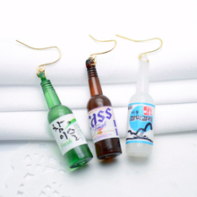 HOMOD Korean Style New Personalized Beer Bottle Shaped Drop Earring Acrylic Harajuku Sake Earrings Creative Women Jewelry
