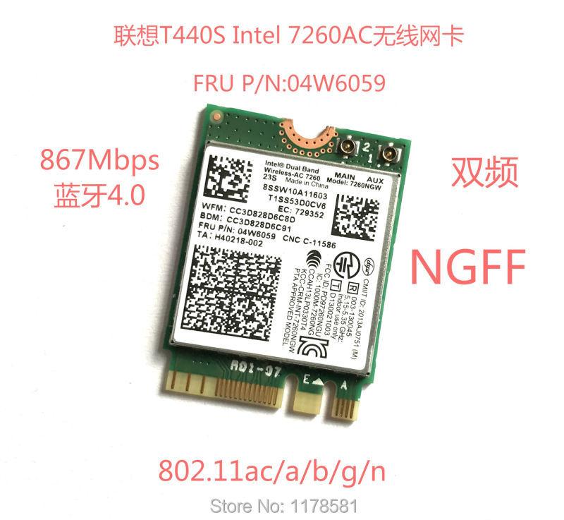 Intel Dual Band Wireless-AC 7260 7260NGW AC 802.11ac NGFF Card 2.4G/5G Dual Band 2x2 WiFi + Bluetooth 4.0 intel8260 For Lenovo