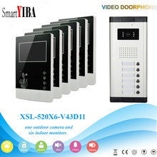 Smartyiba 6 Units Visual Intercom Entry System Ir Camera Doorbell Kits Multi Apartment Building Video Door Phone