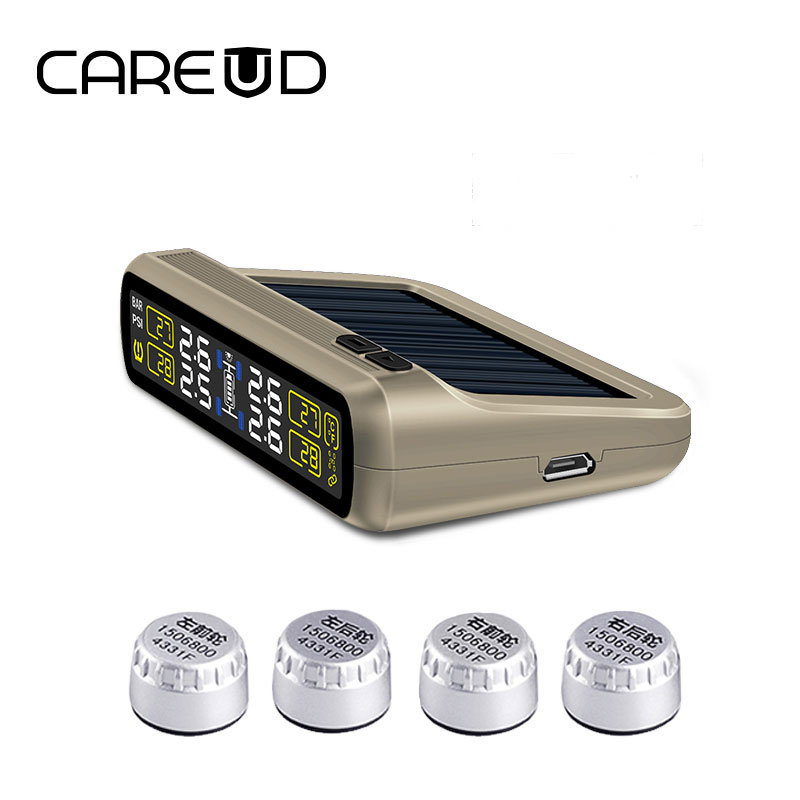 Original CAREUD solar power and USB charge car TPMS wireless tire pressure monitoring system with 4 external sensors LCD display solar power tpms lcd display car wireless tire tyre pressure monitoring system 4 external sensors for cars freeshipping d15
