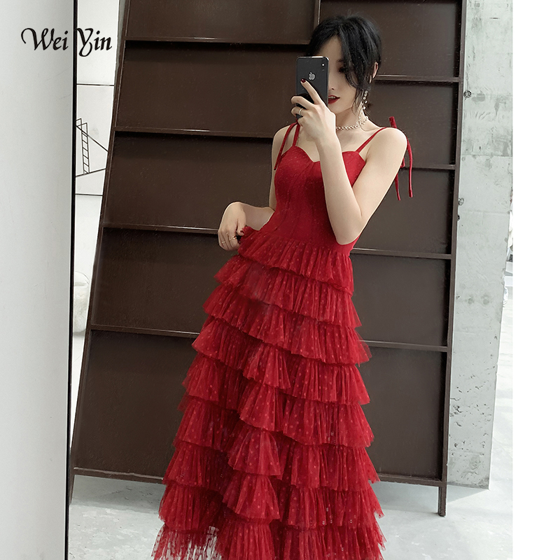 wei yin Long   Evening     Dresses   Sleeveless 2019 Wine Red Sexy Illusion Floor Length Tulle Fashion   Evening     Dress   Party Gown WY1734