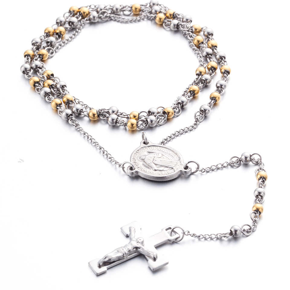 Stainless Steel Bead Chain Rosary for men Jesus Cross Pendant Long Necklace High quality Stainless steel chain rosaries wholesal