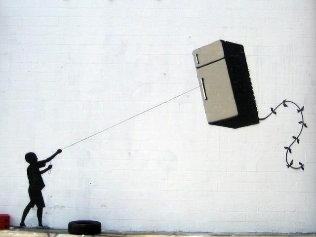 Banksy graffiti koelkast kite canvas abstract street art home deco