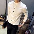 2017 spring casual long-sleeve shirt male chinese style slim solid color shirt male collarless shirt