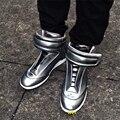 Zapatillas Deportivas Hombre Marca de Lujo de Los Hombres de Cuero Suave Zapatos Casuales Top del alto de Los Hombres Planos Hook & Loop Zapatos de HipHop de Los Hombres 46