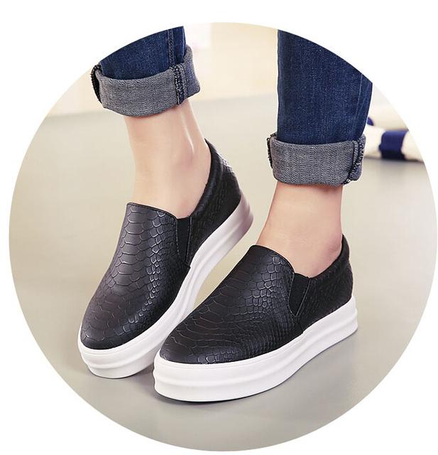 2015 planos ocasionales del talón punta redonda Slip On negro rosa zapatos del holgazán otoño cómodos zapatos para mujeres