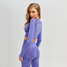 Frauen Vital Nahtlose Yoga Set Gymnastik Kleidung Fitness Leggings + Cropped Shirts Sport Anzug Frauen Langarm trainingsanzug Aktive Tragen